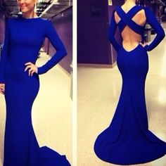 Long Sleeve Royal Blue Mermaid Long Evening Dresses Satain Evening Formal Gown