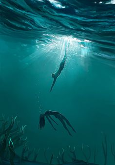 ArtStation - The lifeguard, Mathieu Seveno Underwater Art, Underwater Photography, Art Photography, Creative Photography, Illustration Design Graphique, Illustration Art, Art Sketches, Art Drawings, Sad Art
