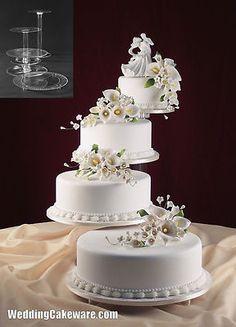 Fresh Tiered Wedding Cake Stands With Tier Cascade Wedding Cake Stand Stands Set 4 Tier Wedding Cake, Wedding Cake Stands, White Wedding Cakes, Elegant Wedding Cakes, Beautiful Wedding Cakes, Wedding Cake Designs, Beautiful Cakes, Multiple Wedding Cakes, Wedding Ideas