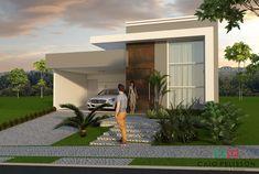 Projeto de Casa Térrea em Condomínio de Campinas com Fachada Reta Arquitetura Moderna #casaspequeñasfachadas