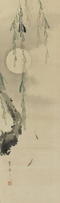 Moon and Willow. Kkuchi Yosai (1788-1878). Japanese Hanging Scroll Painting.