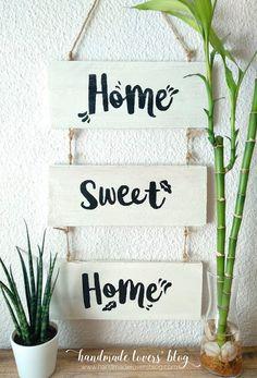 Cartel de madera Home Sweet Home  #cartelmadera #cartelpersonalizado #diy #crafts #manualidadesconmadera #carteldiy #homesweethome