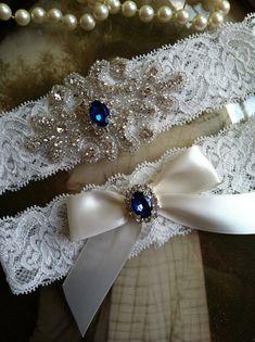 Wedding Garter-Garters-Bridal Garter-Blue-garter-Keepsake-Something blue-Ivory Lace Garter Set-something blue-bridal white-off-white