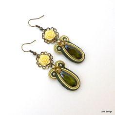 Soutache Earrings Forest Green Crystal by ZinaDesignJewelry