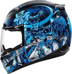 Icon Airmada Shadow Warrior Motorcycle Helmet Blue