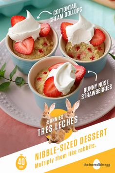 Three's never a crowd when it comes to sweet and creamy treats! Bunnies' Tres Leches Mini Cakes is an easy, quick as a rabbit dessert recipe, here just in the nick of time for Easter. With an airy, fluffy white cake, bite-sized strawberry slices and light whipped cream topping, you'll want to jump on this petite delicacy before it hops away with spring. So cuddle up with your snuggle bunny after a delicious Easter brunch and nibble away at deliciousness.