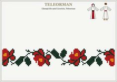 Motiv Cross Stitch Borders, Cross Stitch Flowers, Cross Stitching, Cross Stitch Patterns, Folk Embroidery, Cross Stitch Embroidery, Embroidery Patterns, Loom Beading, Beading Patterns