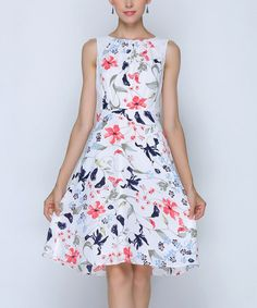 Look what I found on #zulily! Red & Blue Floral Sleeveless A-Line Dress - Plus Too #zulilyfinds