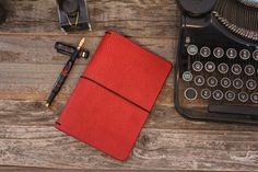 Personal Size Travelers Notebook in the color Apples from The Leather Quill Shoppe