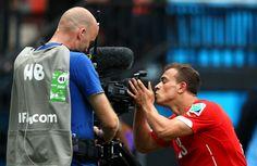 Xherdan Shaqiri of Switzerland celebrates scoring his team's first...