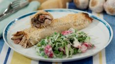 These savoury crepes are packed with chicken, mushrooms and bacon - served with a delicious radish and pea salad!