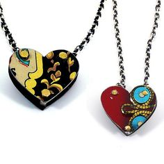 """""""Reversible 3D Tin Heart Necklace""""  Metal Necklace created by Beth Taylor on Artful Home"""