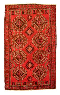 Vintag Traditional red Oriental rug 205x120 medium wool Persian rug from Ferdos