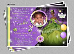 Princess and The Frog, Princess Tiana, Party Invitations -DIY Digital File
