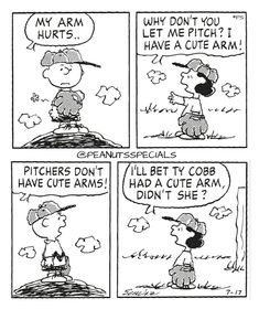 First Appearance: July 17th, 1998 #peanutsspecials #ps #pnts #schulz #charliebrown #lucyvanpelt #arm #hurts #pitch #cute #pitchers #cutearms #tycobb www.peanutsspecials.com