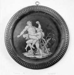 """Hercules and Antaeus, Josiah Wedgwood, Black basalt ware with """"encaustic"""" decoration, 1780-90. / In his attempt to imitate ancient Greek vase painting, Wedgwood developed this type of decoration, known as encaustic painting, which he patented in 1769."""