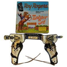Rare Official Roy Rogers Boxed Holster Set with Letter, Signed by Roy Rogers | From a unique collection of antique and modern toys at https://www.1stdibs.com/furniture/more-furniture-collectibles/toys/
