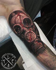 Gas mask on inner bicep  @leigh_tattoos Fb: /leighstca #goldcoast #tattoo #tattoos #tat #tats #tattooist #tattooartist #tattooart #ink #inked #tattooedguys #t4l #follow #followme #bestoftheday #art #artist #greywash #fusion #swashdrive #heliostattoo #heliosneedles #Loyalty4Life #H2Ocean4Life #H2Ocean #gasmask #horror #horrortattoo