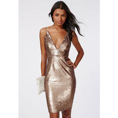 Missguided Leila Sequin Strappy Midi Dress Gold