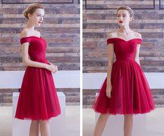 c10a85fec939 Off Shoulder Red Short Dress in Tulle for Wedding Gala PEFC2619