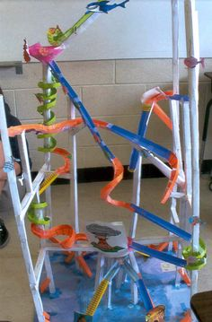The finished long beach paper roller coaster by andrew for Paper roller coaster loop template