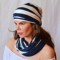 STRIPED 3 PIECE Set Hair Wrap/Hat with Scarflette Tie and Infinity Endless Loop ScarfGift Wrapped for Yogis Cancer Patients with Hair Loss on Etsy, $34.00