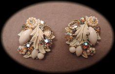 Intricate White Enamel and Aurora Borealis by thejeweledbear, $16.00