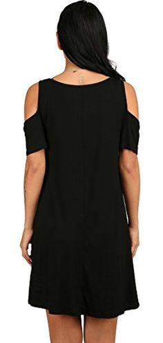 eefae522b84d1 Women s O Neck Cold Shoulder Off T-Shirt Loose Tops Black L
