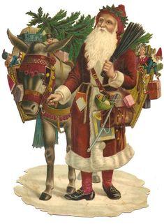 Victorian Die Cut Card Santa Saint Nicholas Donkey Winter Snow Christmas Tree Scrap