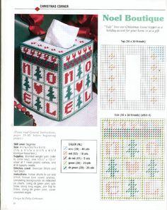 NOEL TBC 1 Plastic Canvas Ornaments, Plastic Canvas Tissue Boxes, Plastic Canvas Crafts, Plastic Canvas Stitches, Plastic Canvas Patterns, Needlepoint Patterns, Quilt Patterns, Stocking Pattern, Box Patterns