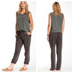"""•James Perse Straight Twill Pant• •Classic & feminine Perse does it again• Elasticized drawstring waistband• Slant front pockets• Buttoned welt back pockets• Darted back• Faux fly• Straight fit• Aproxx 9.5"""" rise• 30"""" inseam• Material: Shell 65% tencel 35% cotton• Contrast 100% cotton• color: Grey• James Perse Pants Straight Leg"""