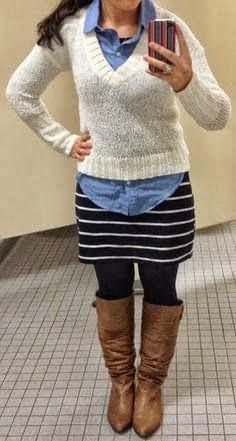 **3/9/14 ON White sweater, ON chambray shirt, T tights,  ON striped skirt, CC tan boots