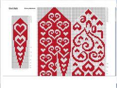 Crochet Mittens Free Pattern, Fair Isle Knitting Patterns, Bead Crochet Patterns, Knitting Charts, Knit Mittens, Knitted Gloves, Knitting Stitches, Knitting Socks, Crochet Yarn