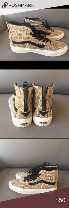 Vans Women's Leather Snakeskin Shoes Super cute Vans Women's 'Sk8-Hi Slim Zip' Leather Athletic Shoes. NWOT. Women's size 6.5. Vans Shoes Sneakers