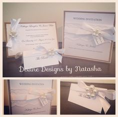 Rustic style wedding invitations finished in lace, ivory ribbon, kraft card and pearl embellishment