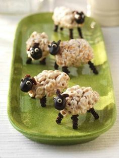 Cheerio Sheep  (can use pretzels for legs, almonds for heads, bead sprinkles for eyes, small marshmallow pieces for ears)