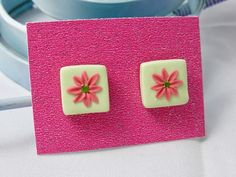 Polymer Clay Mint Square Floral Stud Earrings £4.00
