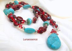 Turquoise Red Merlot beaded Pendant  Necklace by LunaEssence, $69.00