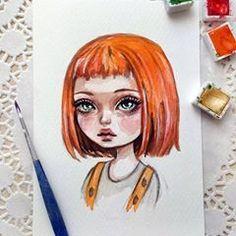 Original watercolor art in the format of a postcard. Beautiful Drawings, Cute Drawings, Drawing Sketches, Drawing Art, Watercolor Girl, Watercolor Paintings, Watercolor Paper, Painting Art, Arte Disney