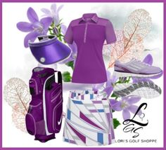 A preppy purple golf outfit! Exclusive at lorisgolfshoppe.polyvore.com #golf #polyvore #ootd #lorisgolfshoppe