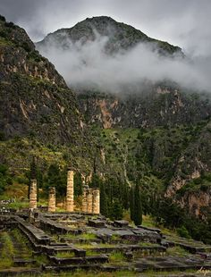 The temple of Apollo, located in Delphi, Greece. Delphi was originally home to Mother Earth, Gaea and guarded by the Python. Apollo slayed the Python and took over, making Delphi his sacred/ worship spot.
