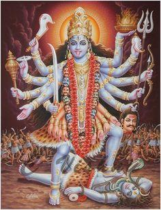 Hindu Vedas, Hindu Deities, Kali Goddess, Mother Goddess, Goddess Art, Kali Mantra, Kali Tattoo, Cat Videos For Kids, Divine Mother