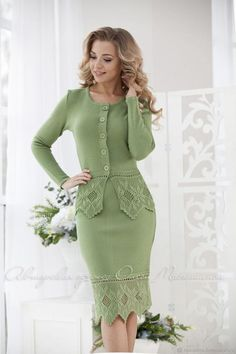 """Beautiful knitted two-piece green suit """"Russian tradition"""" Lace - 100% sirloin, handmade"""