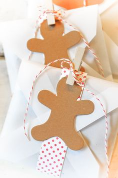 DIY Gingerbread man gift wrapping embellishments