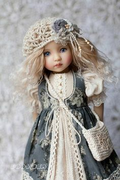 "Clothes for Little Darling #outfit_for_doll Dress with lace Boho dress Dianna Effner Dress for doll 13"" Clothes for dolls #Clothes_for_dolls #littledarling #одежда_для_кукол #bohostyle"