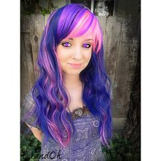 Twilight Sparkle Purple Blue Pink Long Curly Wavy Layered Wig My... ($135) ❤ liked on Polyvore featuring costumes