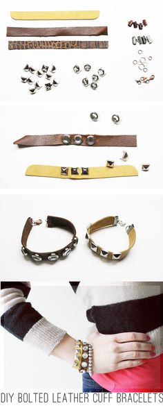 DIY: BOLTED LEATHER CUFF BRACELETS  Materials:  Leather or pleather strips measured and cut to fit around your wrist size  (you can buy strips of it at a craft store, but I cut mine from leather samples I had)   Metal or rhinestone studs (found mine here and here)  10 mm Crimps (got mine here)  Jump Rings (also found here)  Lobster Clasps  Pliers  A great place to buy supplies is on etsy!