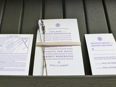 Lavender and Cotton Twill Brooklyn Wedding Invitation