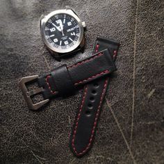 "The shopping frenzy has begun. Wearing this awesome combo today to keep track of time. This is our black ""Battalion"" handmade #leather #watchstrap with red stitching with my BFF #seiko What are you up to today? #mensessentials #menstyle #accessories www.BasandLokes.com"