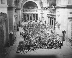 This elevated view of the Great Hall with students from Washington Irving High School was photographed on May 25, 1926.